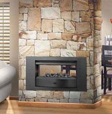 Infiniti Double Sided Fireplace With Wrap Around Black Trim